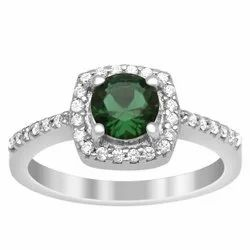 Solitaire Accents 925 Fine Silver Round Cut Green Color Gemstone Women Ring