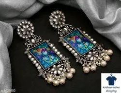 Jhumkis Oxidized Silver Fashion Earrings