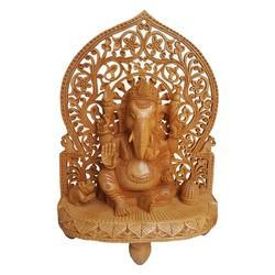 Wooden Ganesha Statue With Cut Work