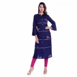 Casual Wear Front Slit Ladies Fancy Rayon Kurti, Size: S-xxl, Handwash