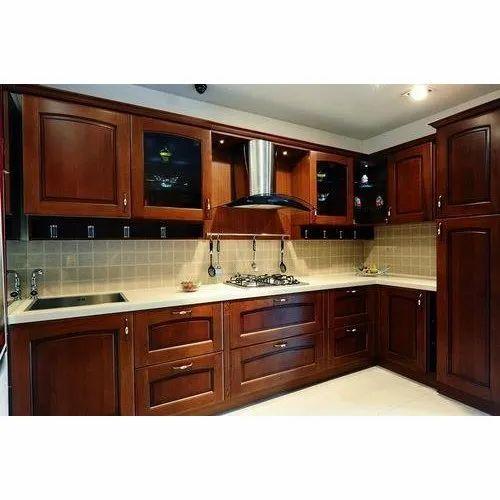 Dark Brown Wooden Modular Kitchen