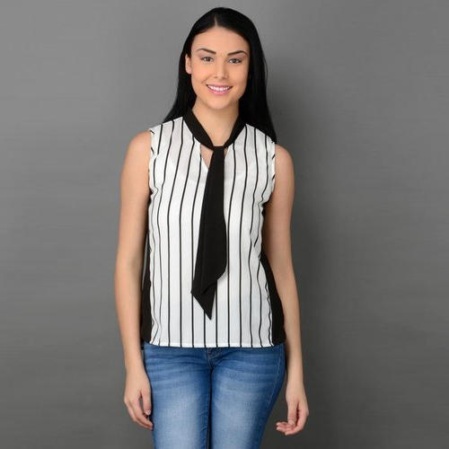 d142d98ef7 Black And White Casual Black Tie Up Top