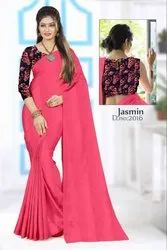 Partywear Plain Chiffon Saree with Silk Print Blouse