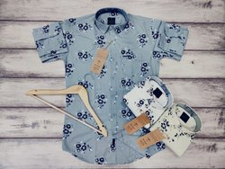 Cotton Printed Mens Party Wear Shirt, Size: S-xxl