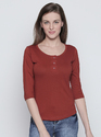 Female 3/4th Sleeve Cotton Burgundy T-shirt, Size: S-xl