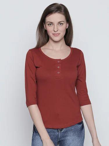 no sale tax exclusive deals big sale 100% Cotton Women''s Half Sleeves Burgundy Colour T Shirt