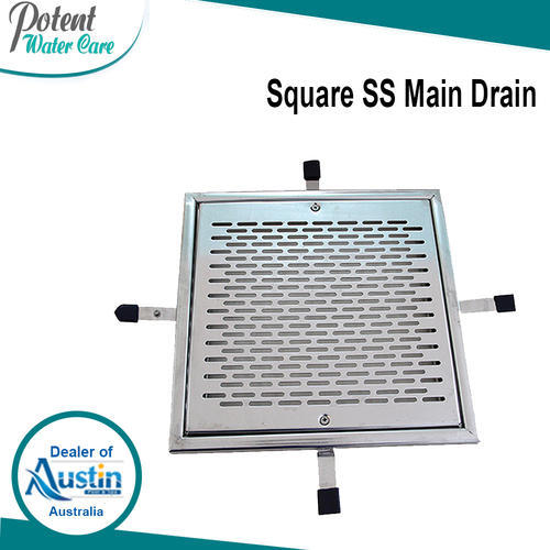 Gray, Silver Square SS Main Drain