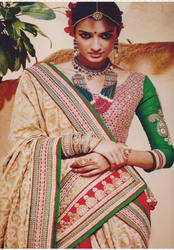 Golden And Tomato Red With Attractive Works Sarees