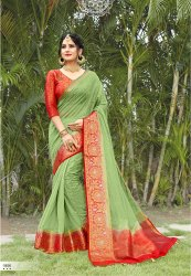 Green Woven Ladies  Linen Cotton Saree 5.5 m (With Blouse Piece)