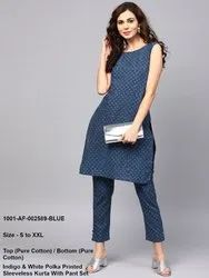Printed Sleeveless Kurta with Pant Set