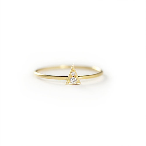 Stacking Ring Simple And Dainty Diamond 14k Solid Gold Thin