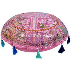 Indian Embroidered Floor Cushion Cover