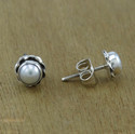 Indian Pearl Gemstone Jewelry 925 Silver Stud Earring