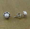 Indian Pearl Gemstone Jewelry 925 Silver Stud Earring