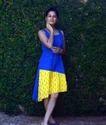 Blue & Yellow Hand Block Printed Ikat Frock