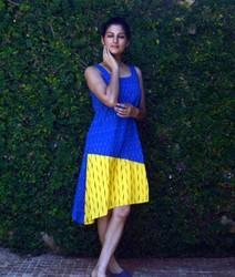 Cotton Blue & Yellow Hand Block Printed Ikat Frock