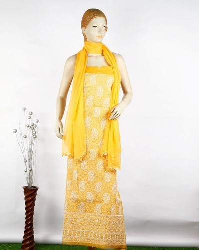 Chikan Hand Embroidered Ladies Unstitched Suit and Chikan