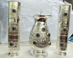Antique Silver Mug And Glass Set