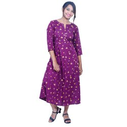 Ladies Anarkali Printed Rayon Kurti, Size: S