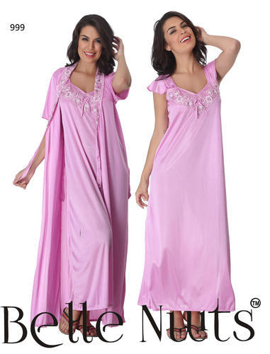 350b4e438c Belle Nuits Side Knee Cut Long Nighty With Robe at Rs 999  pack ...