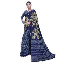 Navy Blue Colored Tussar Silk Casual Saree