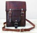 Vintage Leather Double Buckle Portrait Messenger Bag
