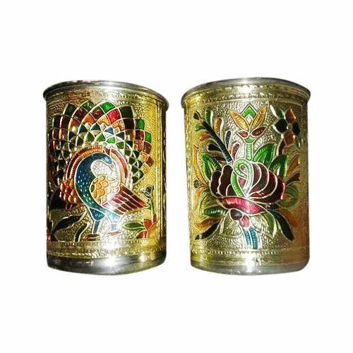 Handcrafted Gold Meena Work Glass