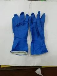 Blue rubber hand gloves