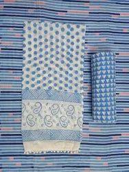 Stripe And Polka Dot Hand Block Print Cotton Cambric Fabric