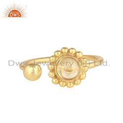 Glossy Citrine Gemstone Flower Gold Plated Silver Designer Rings