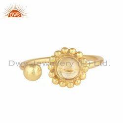 Natural Citrine Gemstone Flower Gold Plated Silver Designer Rings