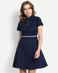 Party Wear Navy Blue Colour Cotton Dress