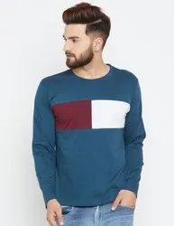 Men's Full Sleeves Round Neck 100% Cotton Multicolour T-Shirt
