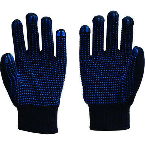 Blue And Black Dotted Safety Gloves