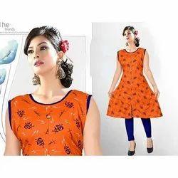 Casual Wear Fancy Sleeveless Rayon Kurti, Size: L-XXL, Handwash
