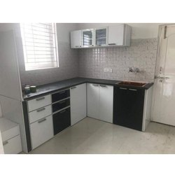L Shape PVC Italian Modular Kitchen, Warranty: 1-5 Years