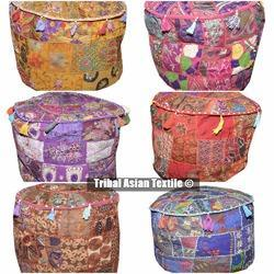 Handmade Patchwork Cotton Embroidery Pouf Cover