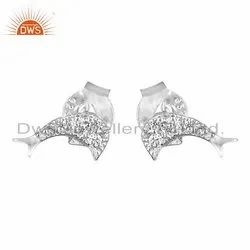 Fish Designer Handmade Sterling Silver Stud Earrings For Womens Jewelry