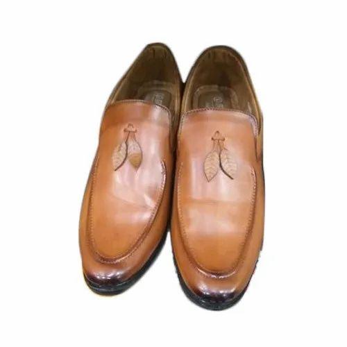 PU Men Brown Designer Slip On Shoes, Rs