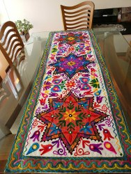 Handicraftofpinkcity Cotton Embroidery Table Cover, Size: 18*60