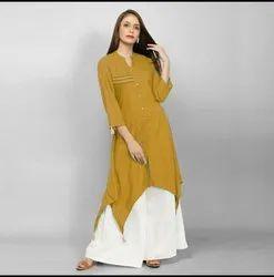 Hevi Cotton Full Sleeve Ladies Designer Kurti With Palazzo, Size: L.XL.XXL, Handwash