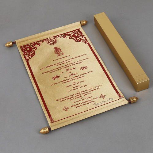 Scroll Invitations For Wedding In Golden Satin, Shape: Portrait