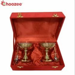 Choozee - Copper/Brass/SS Ice-Cream Cup with Spoon Set of 2 Pcs