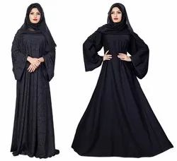 Korean Nida 2-Way Wearable Embossed Plain Burqa With Chiffon Dupatta