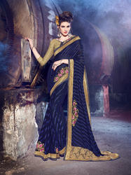 Royal Blue Color Net Stripes Saree