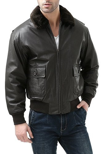 5a7c5fe9d9a Men And Boys Black Luis Leather Mens Solid Genuine Lambskin Bomber Leather  Jacket
