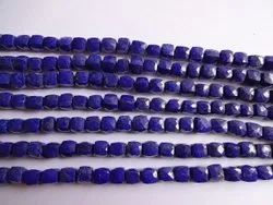 Lapis Lazuli Faceted 3D Cube Beads Cut Box Shape Briolette Beads Strands