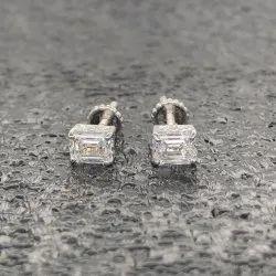 Emerald Cut Stud Earring 0.50ct Each Lab Grown Diamonds DEF VVS VS 18k Gold 1.47gm