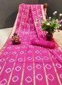 Pure Cotton Bandhej Print Waving Border Saree