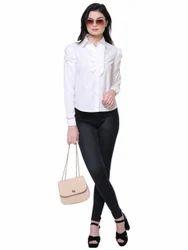 Ladies Cotton White Plain Shirt, Size: XL